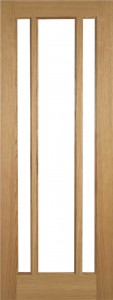 Internal Oak Cuba 3 Light Door Prefinished with Clear Flat Glass