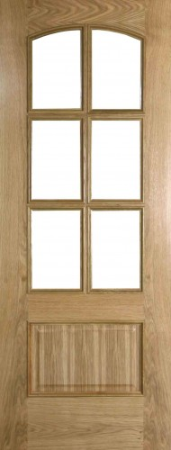Internal Oak Lanzarote Door Prefinished with Clear Flat Glass