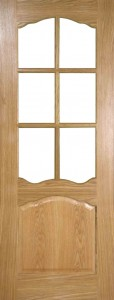 Internal Oak Riviera Door Prefinished with Clear Flat Glass
