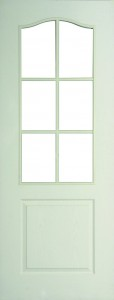 Internal White Moulded Woodgrain Classique 6 Light Door Primed with Clear Flat Glass