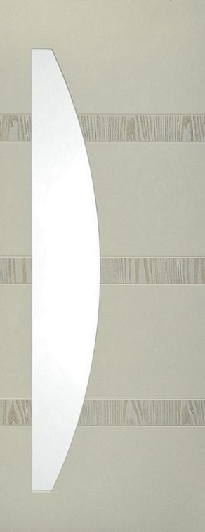 Internal White Moulded Smooth Aurora Arc Door Primed with Clear Flat Glass