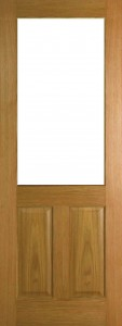 Internal Oak 2XG Door Prefinished with Clear Flat Glass