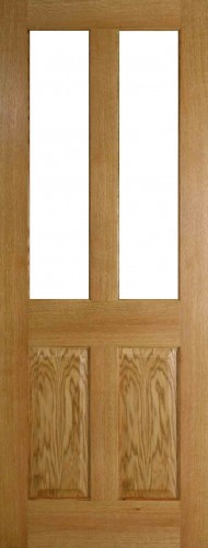 Internal Oak Colonial Top Light Door Prefinished with Clear Flat Glass