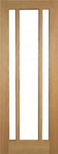 Internal Oak Cuba 3 Light Door Prefinished with Clear Flat Glass
