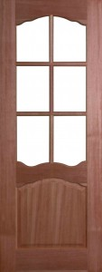 Internal Hardwood Riviera Door Unfinished with Clear Flat Glass