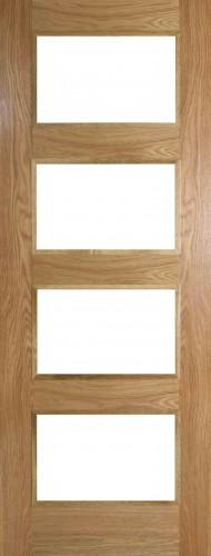 Internal Oak Shaker 4 Light Door Prefinished with Clear Flat Glass