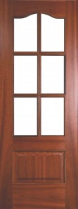 Internal Sapele Valencia Door Prefinished with Clear Flat Glass