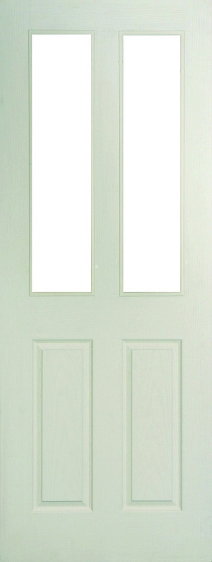 Internal White Moulded Woodgrain Colonist 2 Light Door Primed with Clear Flat Glass
