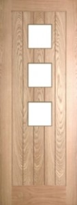 Internal Oak Mexicano 3 Light Door Prefinished with Clear Flat Glass