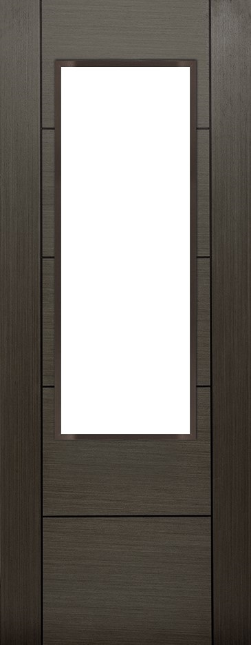 Internal Grey Koto Arran 1 Light Door Prefinished Clear Flat Glass